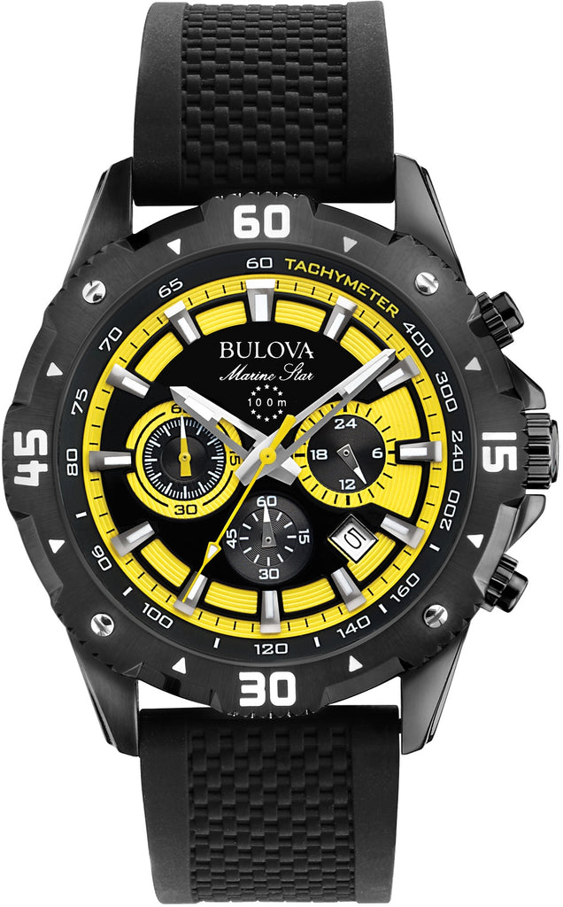 Marine Star Chronograph Black-Yellow Dial Rubber Strap Mens Watch 98B176