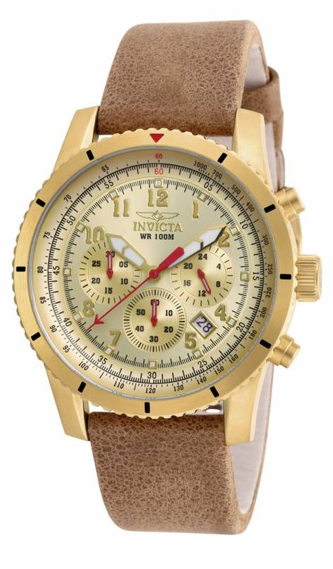 Aviator Men's Leather Gold Dial