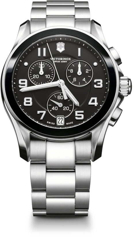 Classic Ceramic Chronograph Black Dial Stainless Steel Men's Watch 241543