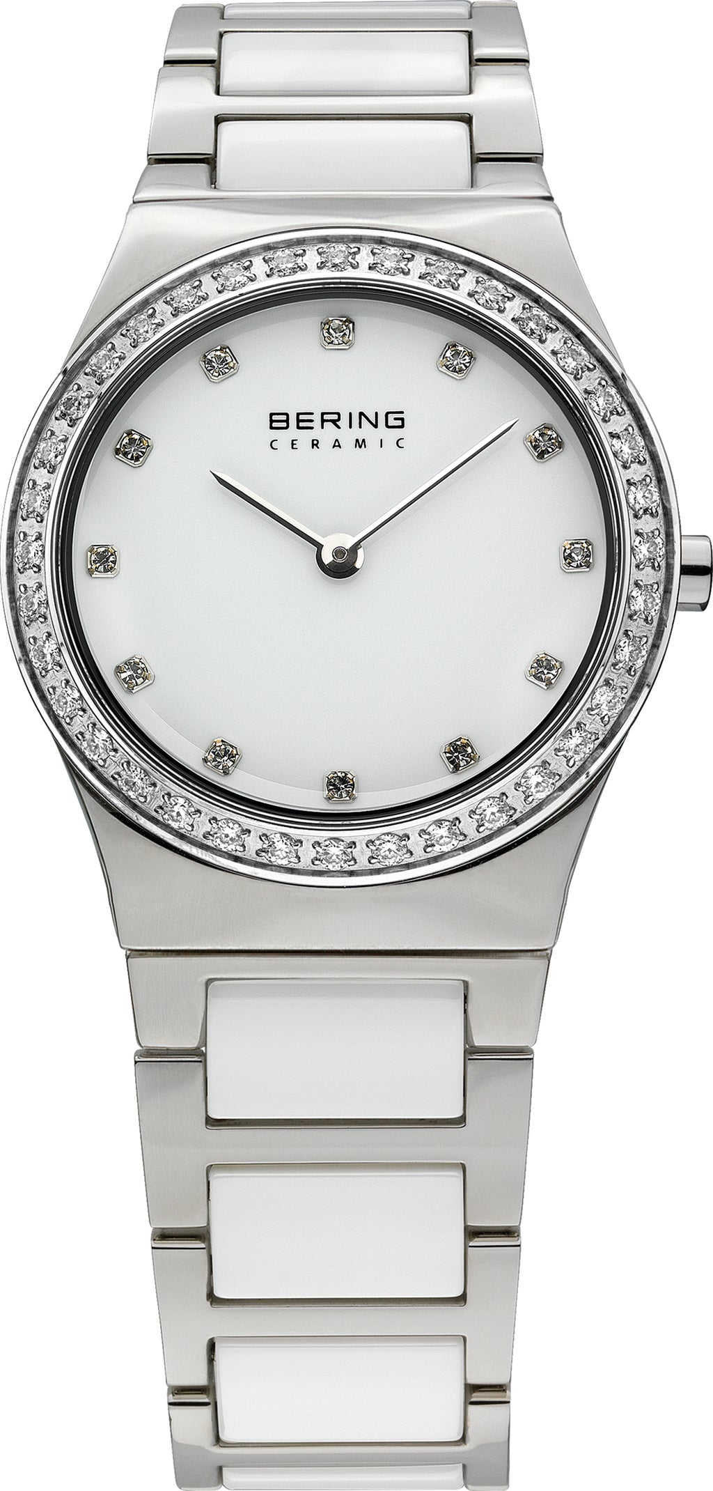 Women's White Ceramic Black Dial