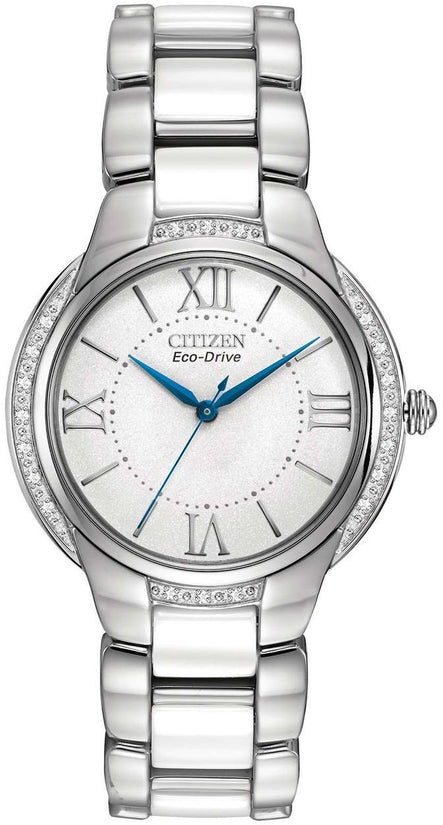 Ciena White Dial Analog Stainless Steel White Ceramic Women's Watch EM0170-50A