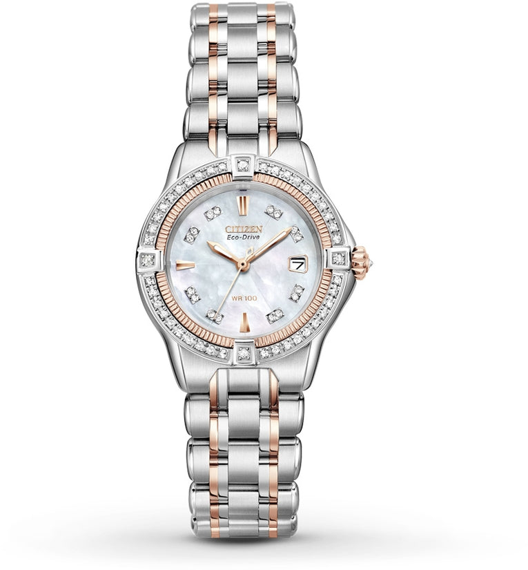 Quattro Diamond MOP Dial Two-Tone Womens Watch EW2066-58D
