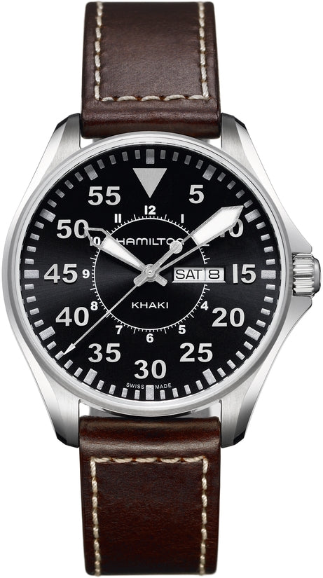Khaki Men's Brown Leather Strap Black Dial