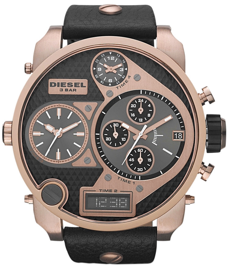 DZ7261 Mr. Daddy Chronograph Rose Gold Case Black Leather Mens Watch