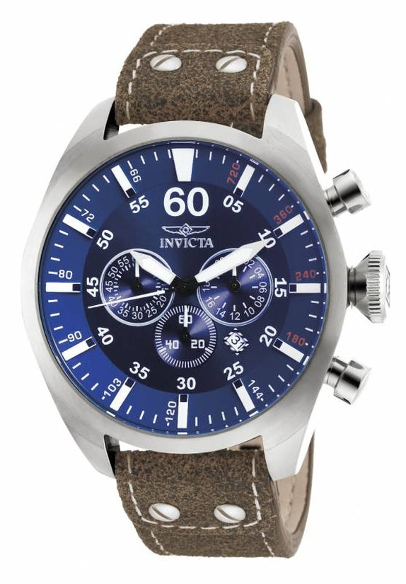 Aviator Men's Leather Blue Dial