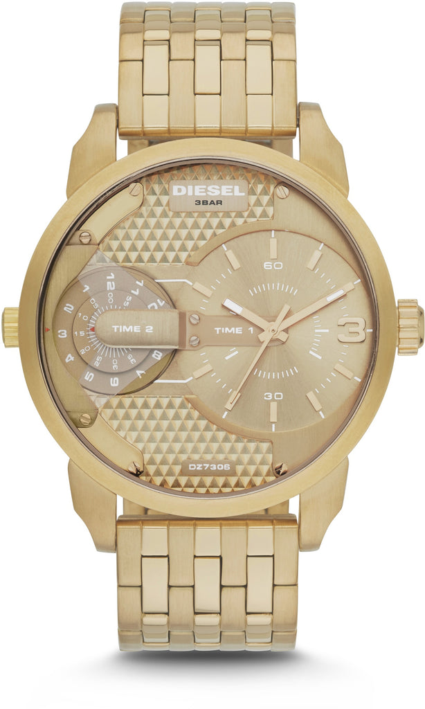 DZ7306 Mini Daddy Tone Gold Dual Time Zone Mens Watch