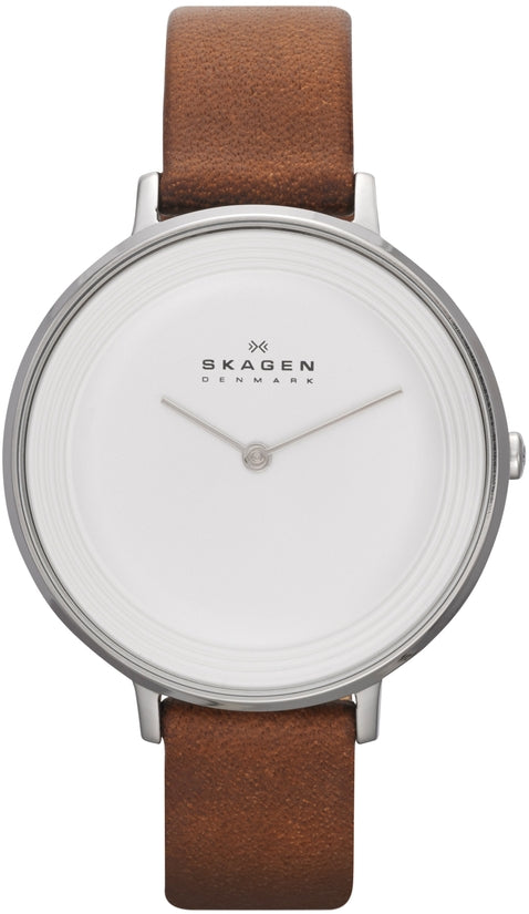 Ditte Brown Leather White Dial