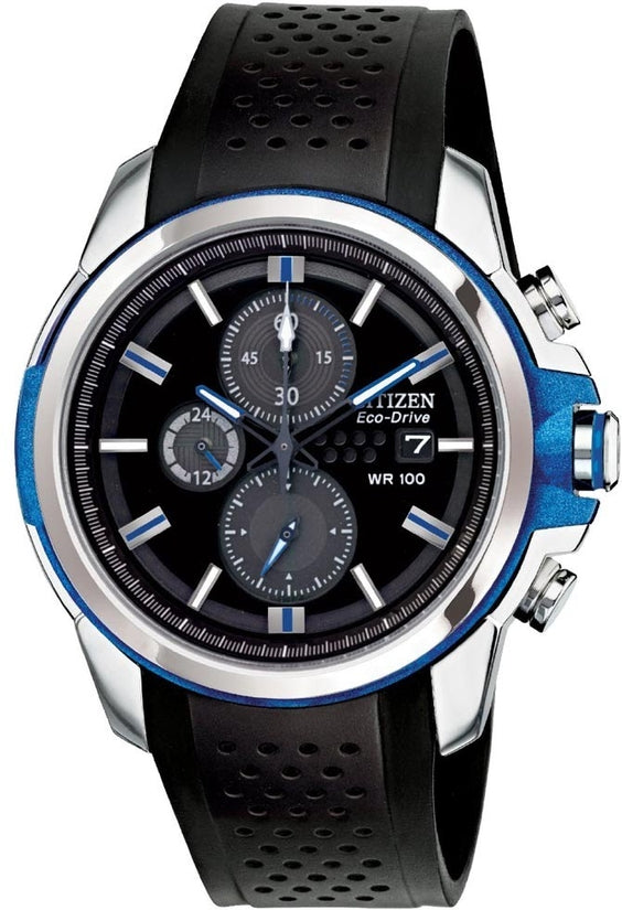 AR 2.0 Chronograph Black Dial Blue Accent Rubber Strap Mens Watch CA0421-04E