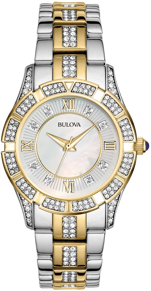 Crystal Accented White MOP Dial Two-Tone Stainless Steel Women's Watch 98L135