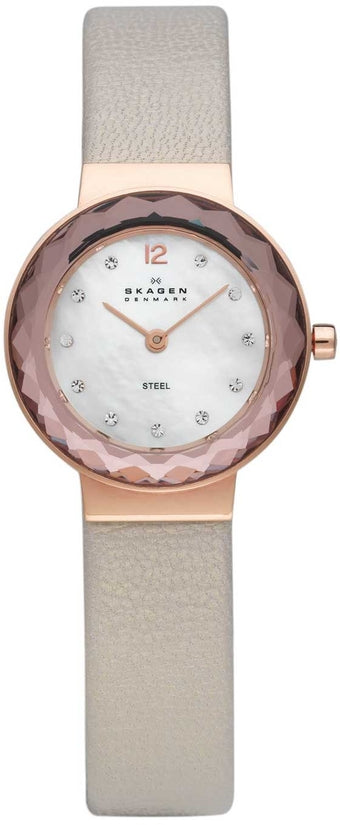 456SRLT White Dial Beige Leather Strap Women's Watch