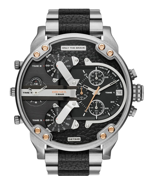 Mr Daddy 2.0 Chronograph Silver Tone Black Leather