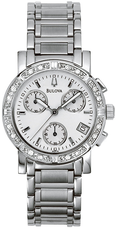 Diamond Chronograph Stainless Steel Womens Watch 96R19