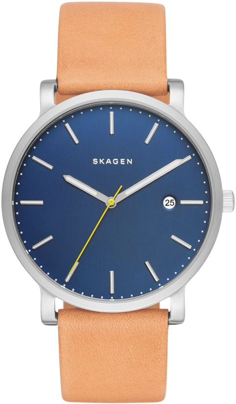 Hagen Blue Dial Beige Leather