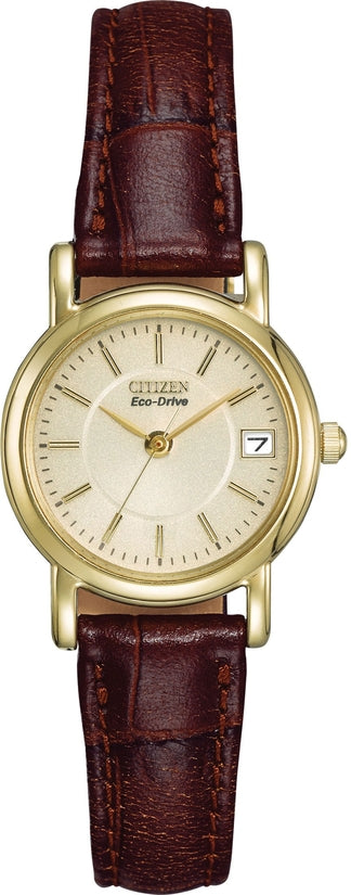 EW1272-01P Champagne Dial Brown Leather Strap Women's Watch