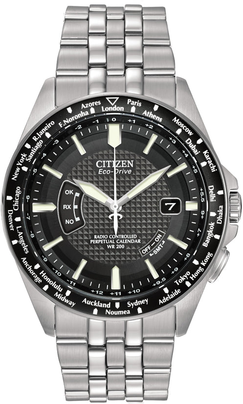 World Perpetual A-T Black Dial Analog Stainless Steel Men's Watch CB0020-50E