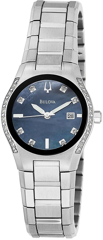 Diamond Accented Black MOP Dial Stainless Steel Women's Watch 96R132
