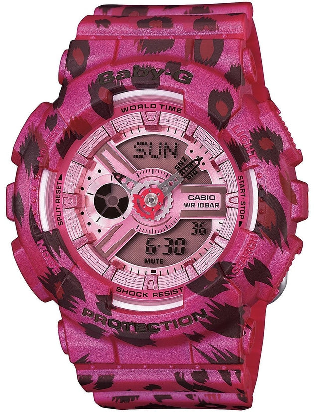Baby-G BA110LP-4A Leopard Series Pink Dial Resin Strap Womens Watch