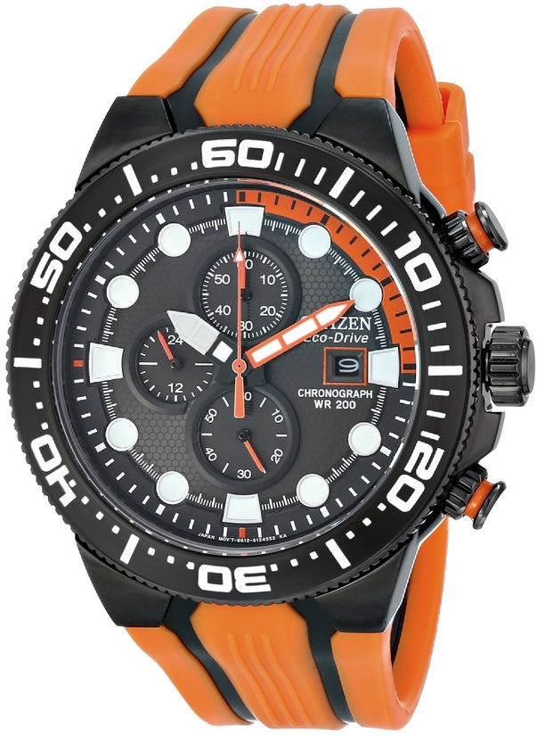 Scuba Fin Chronograph Black Dial Orange Rubber Strap Mens Watch CA0517-07E