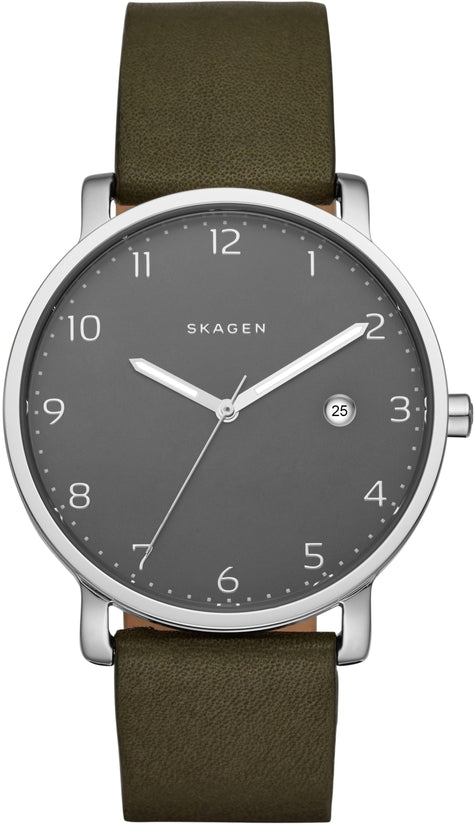 Hagen Dark Brown Leather Gray Dial