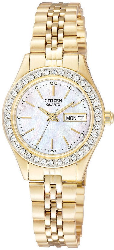 Swarovski Crystal MOP Dial Gold Tone Womens Watch EQ0532-55D