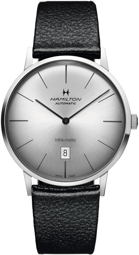 American Classic Men's Black Leather Strap Silver Dial