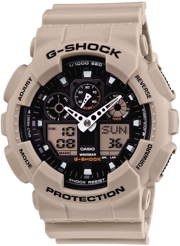 G-Shock Military Sand Trending Series Black Dial Beige Resin Strap Men's Watch GA100SD-8A