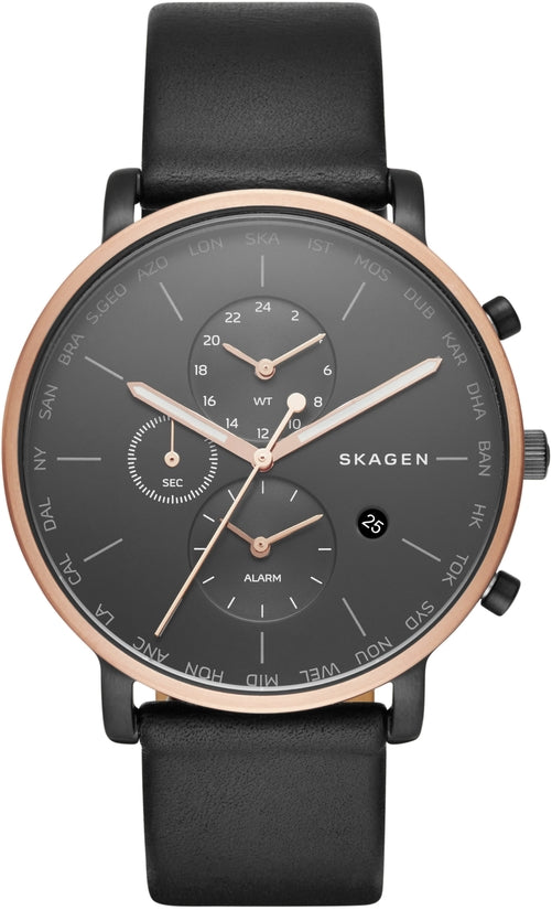 Hagen World Time & Alarm Black Leather