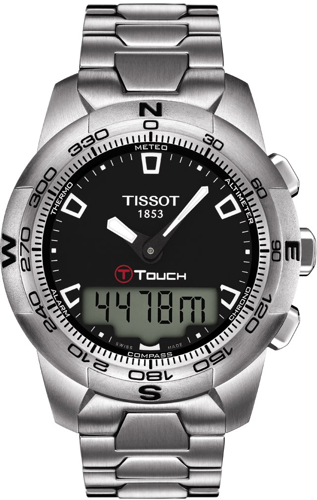 Tissot T-Touch II Men's Quartz Black Dial Watch with Stainless Steel Bracelet