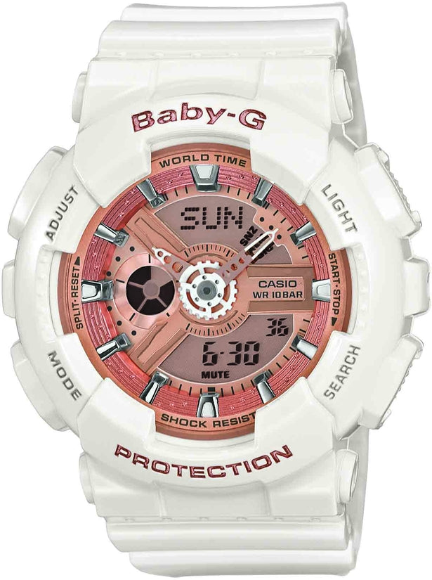 Baby-G Rose Gold Analog-Digital White Resin Strap Womens Watch BA-110-7A0