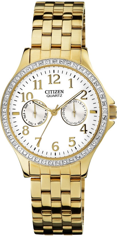 Multifunction Gold Tone Stainless Steel Womens Watch ED8112-52A