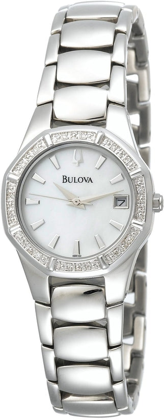 Diamond Accented Analog MOP Dial Stainless Steel Women's Watch 96R102