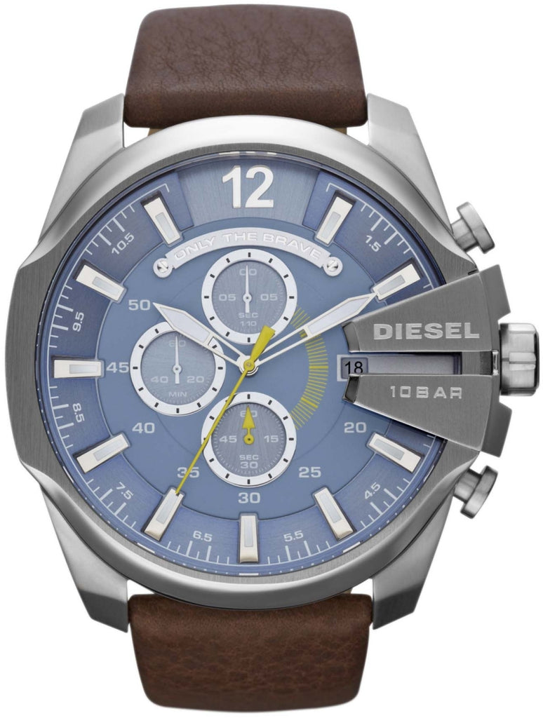 Mega Chief Chronograph Blue Dial Brown Leather