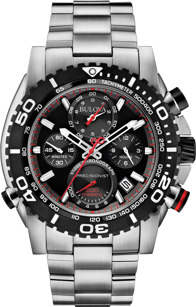 98B212 Chronograph Precisionist Black Dial Stainless Steel Strap Mens Watch