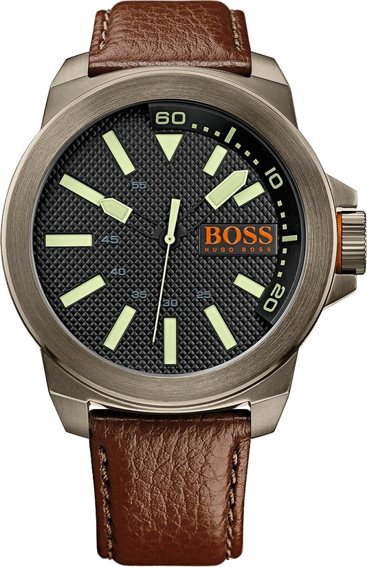 New York Men's Brown Leather Black Dial