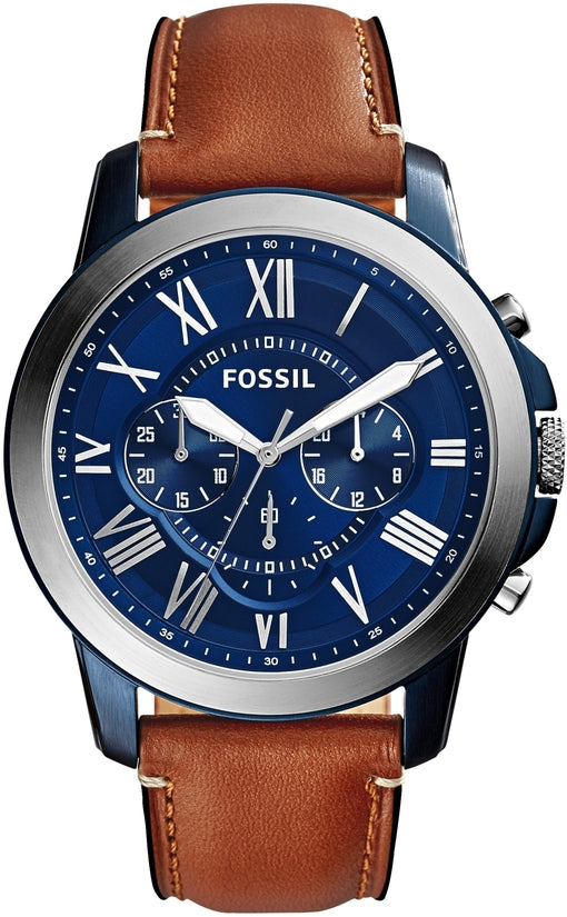 Grant Chronograph Blue Dial Brown Leather