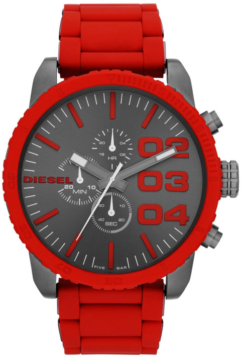 DZ4289 Double Down Grey Dial Red Silicone Strap Mens Watch