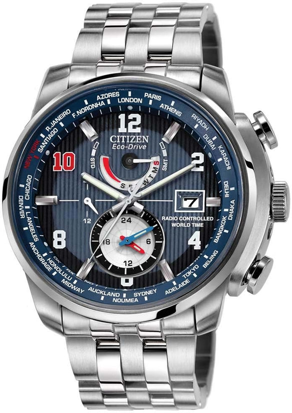 Chronograph World Time Eli Manning Edition Blue Mens Watch AT9010-52M