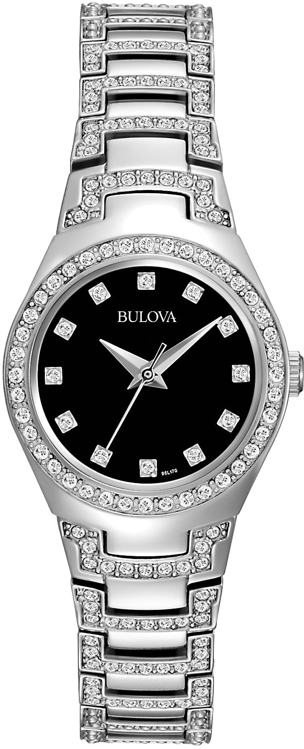 Crystal Black Dial Stainless Steel Womens Watch 96L170