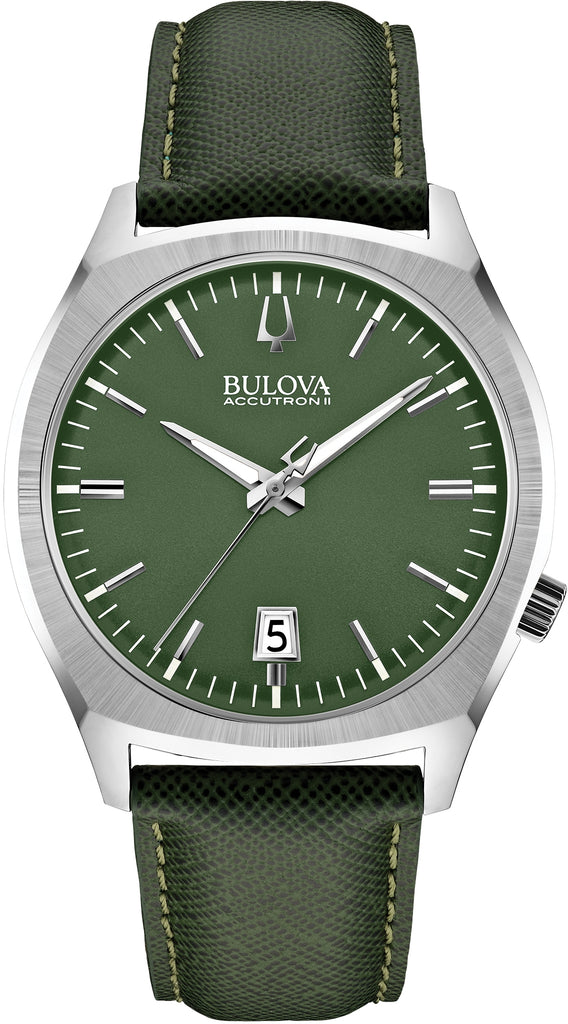 96B211 Accutron II Surveyor Green Dial Leather Strap Mens Watch