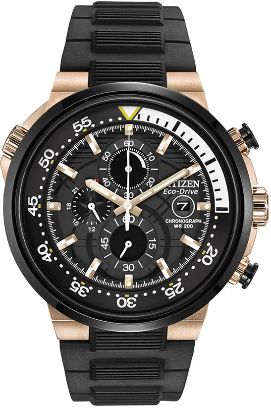 CA0448-08E Endeavor Black Dial Rubber Strap Men's Watch