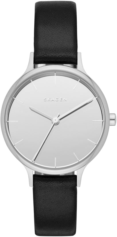 Anita Gray Dial Black Leather