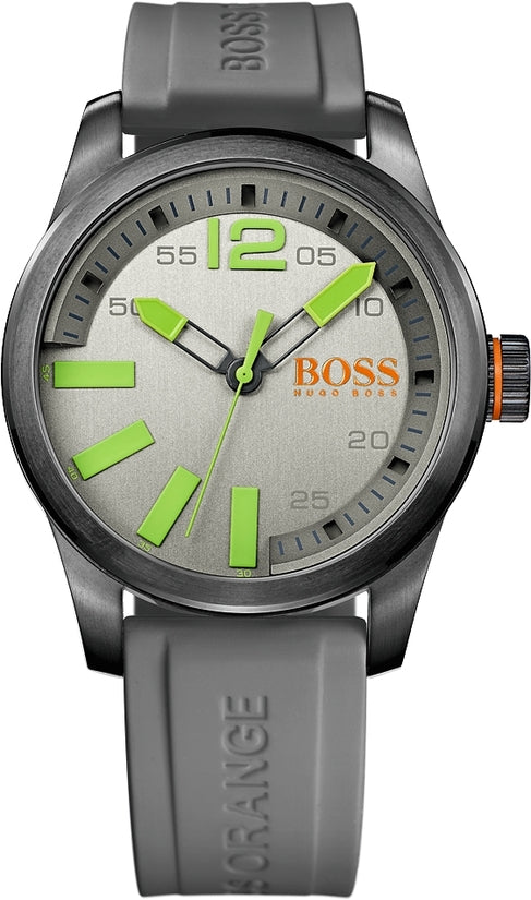 Paris Men's Grey Silicone Gray Dial
