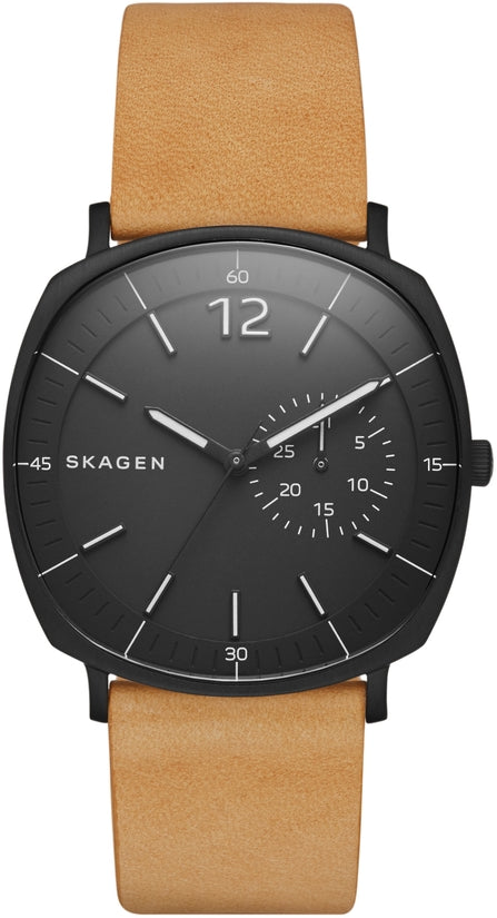 Rungsted Black Dial Tan Leather