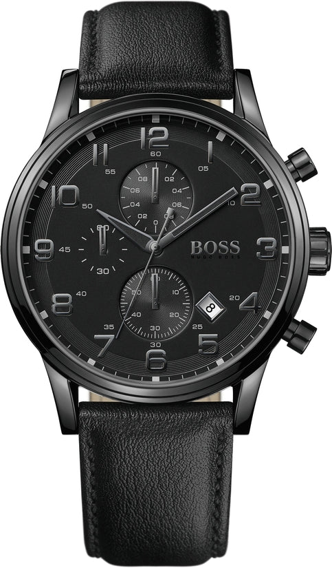 Aeroliner Men's Black Leather Black Dial