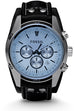 Coachman Chronograph Blue Dial Black Leather