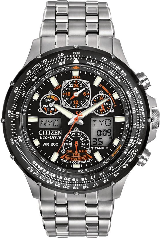 Skyhawk A-T Chronograph Black Dial Titanium Men's Watch JY0010-50E