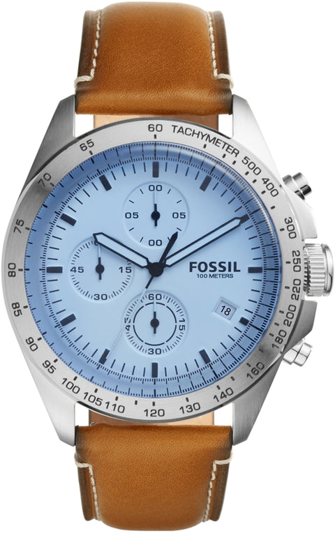 Sport 54 Chronograph Blue Dial Brown Leather