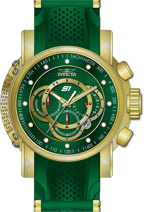 S1 Rally Men's Polyurethane/Stainless Steel Green Dial