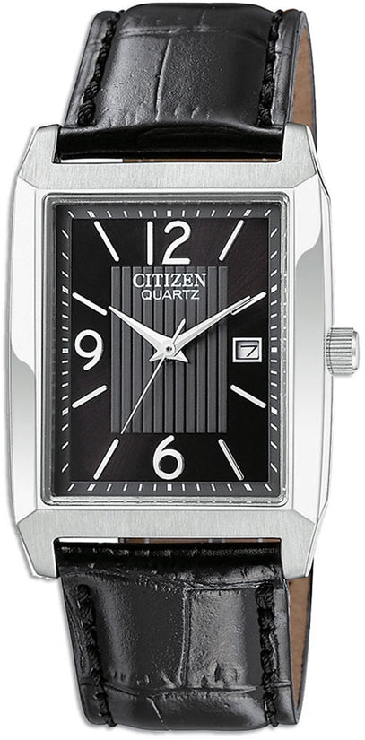 Rectangular Black Dial Leather Mens Watch BH1650-04E