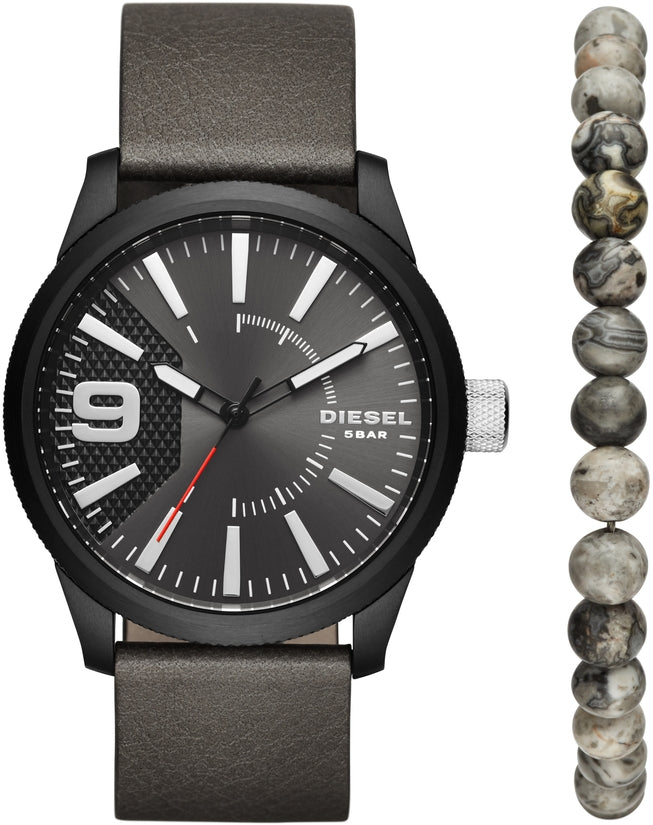Rasp Black Dial Gray Leather